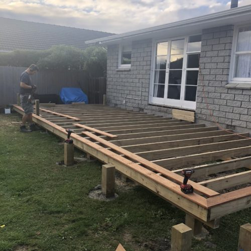 A redwood deck build in North Canterbury by the builders at Code Constructions